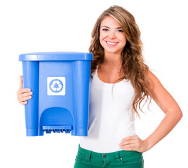Woman holding a recycle bin