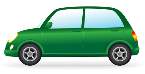 isolated green retro car on white background