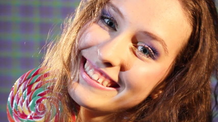 girl smiling and flirting with the camera