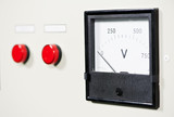 electrical switch panel with button and voltmeter