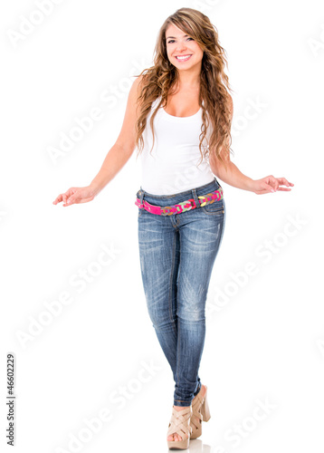 Woman holding imaginary objects