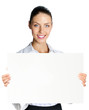 Cheerful business woman showing blank signboard, over white