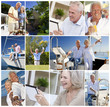 Happy Active Retired Senior Couples Montage
