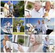 Happy Active Retired Senior Couples Montage