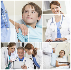 Medical Montage Men Women & Child Hospital Patients