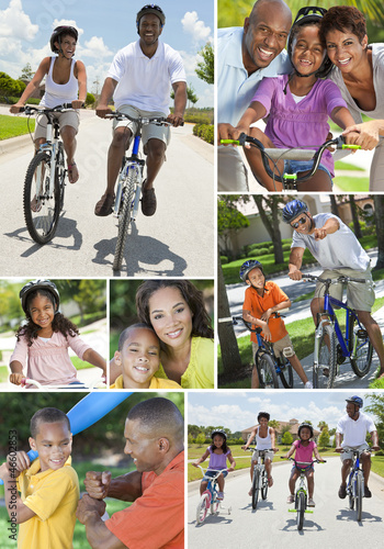 African American Families Playing and Riding Bikes