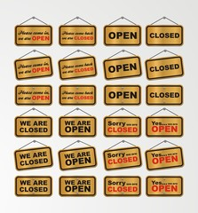 open sign and closed sign with gold background