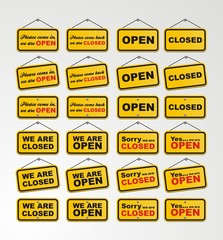 open sign and closed sign for online shop decoration