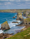 Carnewas and Bedruthan Steps Cornwall England UK