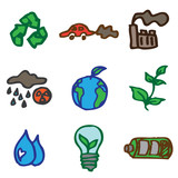 ecology hand drawn icons in vector