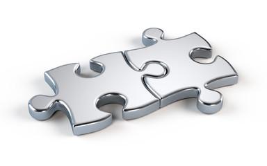 Two metal puzzle - partnership concept