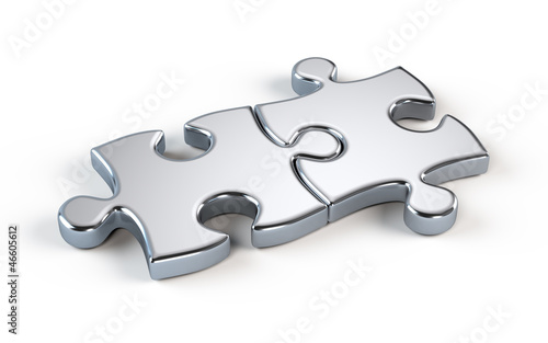 Two metal puzzle - partnership concept
