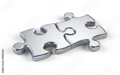 canvas print picture Two metal puzzle - partnership concept