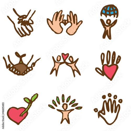 charity hand drawn icons in vector