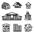building, real estate hand drawn icons in vector