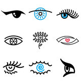 eye hand drawn icons in vector