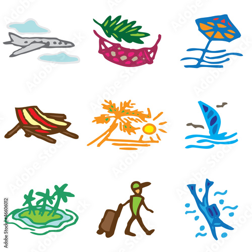 vacation hand drawn icons in vector