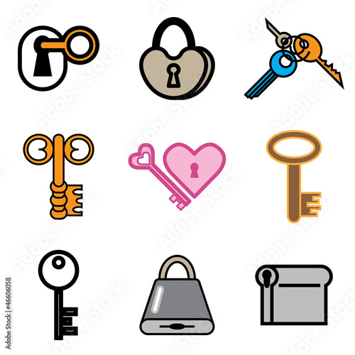 Vector key and lock hand drawn icons in vector.