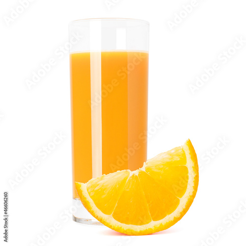 Juice glass and orange fruit