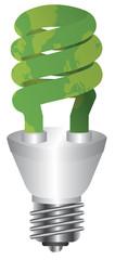 Energy Saving Bulb Green Map Illustration