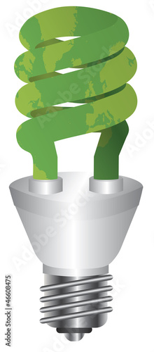 Energy Saving Bulb Green Map Illustration