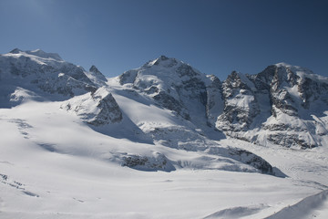 St. Moritz, Diavolezza mountains and glacier in winter