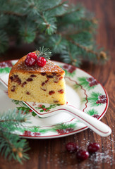 Cake with dried cranberries, selective focus