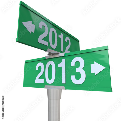 2012 Year Changing to 2013 Green Two-Way Road SIgns