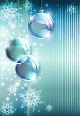Cristmas background with christmas decorations and snowflakes