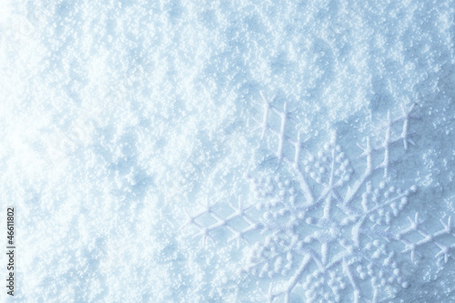 Snowflakes on snow
