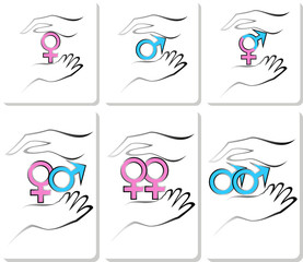 male and female symbols in the hands