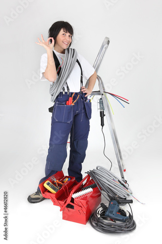 female worker with tools