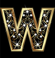 W gold letter with swirly ornaments vector