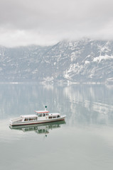 A ferry in Hallstatt lake, Austria