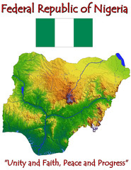 Nigeria Africa national emblem map symbol motto