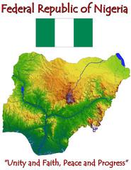 Nigeria Africa national emblem map symbol motto
