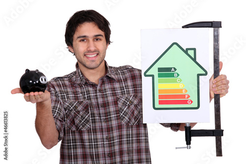 Man holding piggy-bank and energy efficiency logo