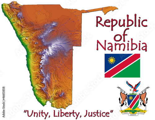 Namibia Africa national emblem map symbol motto