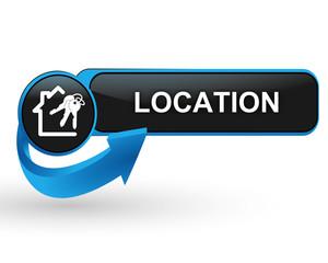 location immobilière sur bouton web design bleu