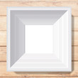 White photo frame from illustration on wood background