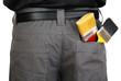 brushes in back pocket close-up