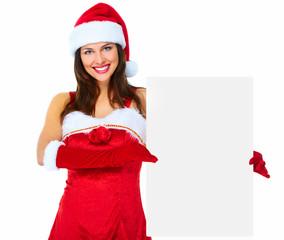 Santa helper Christmas girl with banner.