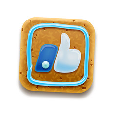Cookie Like/Thumbs Up symbol icon, vector Eps 10 illustration
