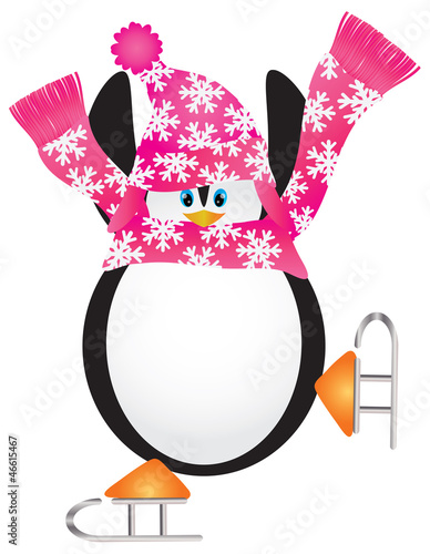 Penguin Skating Pirouette Illustration