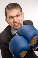 Furious businessman - boxer