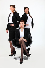 trio of proud businesswomen