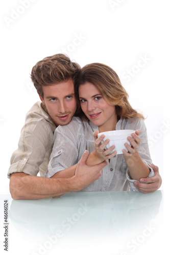 Couple with a bowl