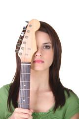 Brunette holding guitar