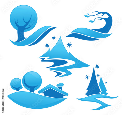 vector collection of winter landscape symbols and icons