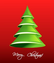 Christmas tree from paper, vector illustration)